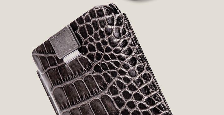 iPhone 11 Pro 拉绊皮套 - 鼠灰色 - 鳄鱼皮风格小牛皮