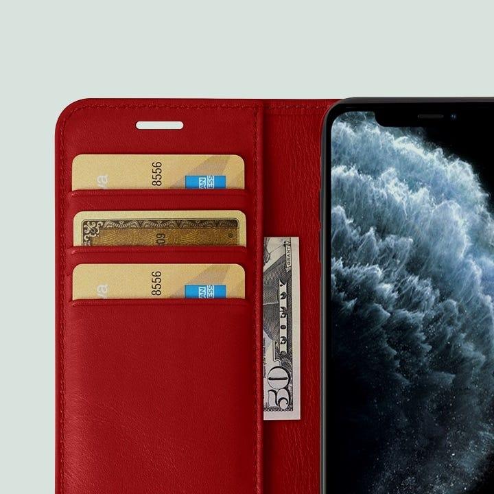 iPhone 11 Pro Max 钱夹套 - 红色 - 光滑皮革