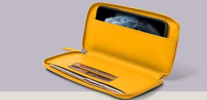 iPhone 11 拉链皮包 - 日光黄 - 光滑皮革